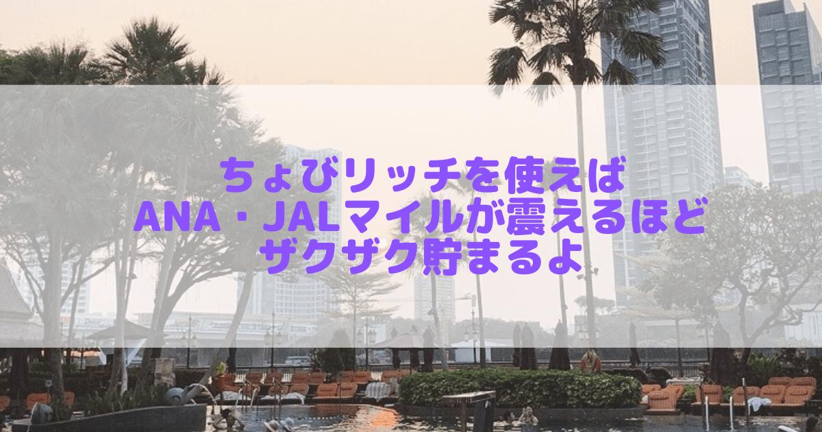 【超完全解説】ちょびリッチでANA・JALマイルを圧倒的に貯める方法はコレしかない!