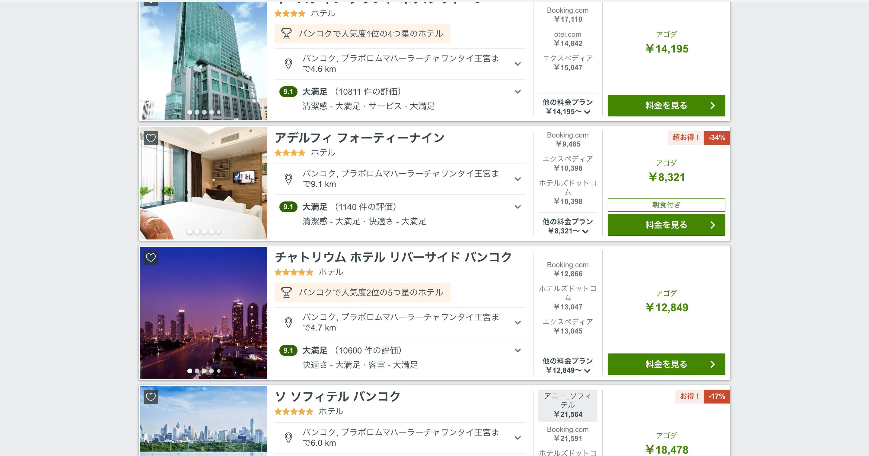 トリバゴホテル検索結果